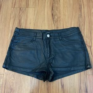 Forever 21 Black Faux Leather High Waisted Shorts